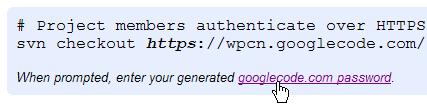 google-code-generate-password
